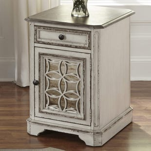 Liberty Magnolia Manor White Mirrored Chair Side Table
