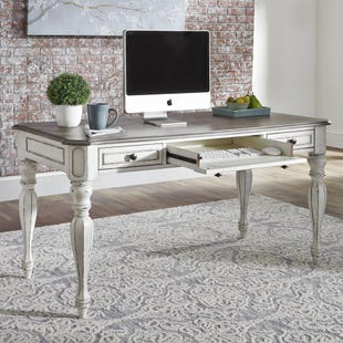 Liberty Magnolia Manor Distressed White Writing Desk