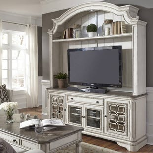 "Liberty Magnolia Manor Antique White 74"" TV Stand & Hutch"