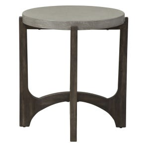 Bolder Heights Brown/Concrete Composite Top Round End Table