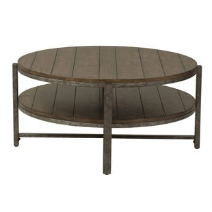 Breckenridge Mahogany and Pewter Metal Round Coffee Table