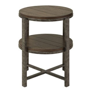 Breckinridge  Mahogany Spice and Pewter Metal End Table