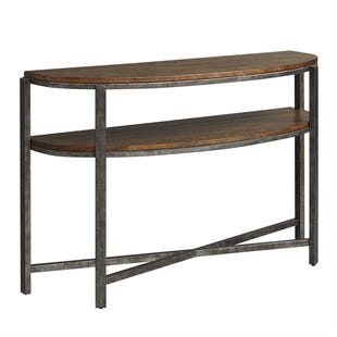 Breckinridge Mahogany Spice and Pewter Metal Sofa Table
