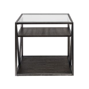 Urbana Glass/Metal/Wood End Table