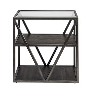Urbana Glass/Metal/Wood Chair Side Table