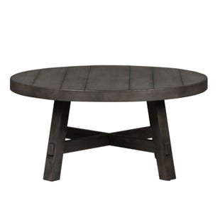 Modern Farmhouse Neutral Brown Round CoffeeTable