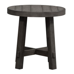 Modern Farmhouse Neutral Brown Round End Table