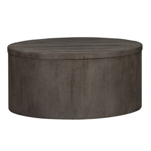 Modern Farmhouse Neutral Brown Drum Coffee Table