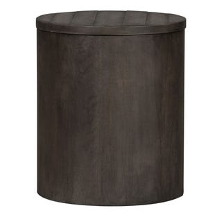 Modern Farmhouse Neutral Brown Drum End Table