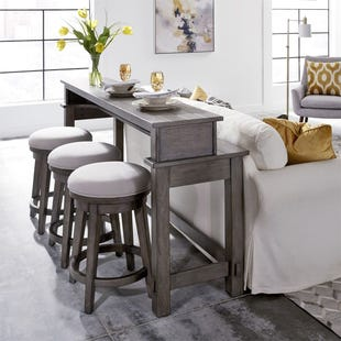 Modern Farmhouse 4 Piece Console with Swivel Chairs