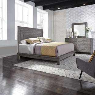 Modern Farmhouse Dusty Charcoal Queen 3 Piece Bedroom Set