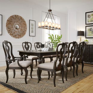Chesapeake Brushed Black 9 Piece Dining Set