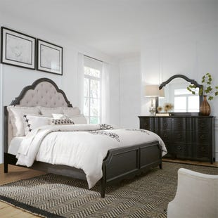 Chesapeake Antique Black Queen Panel 3 Piece Bedroom Set
