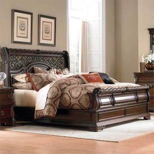 Arbor Place Brownstone King Sleigh Bed