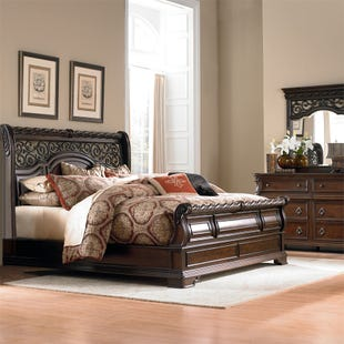 Arbor Place Brownstone King Sleigh 3 Piece Bedroom Set