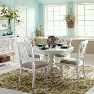 Summer House White 5 Piece Round Dining Set