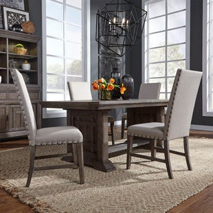 Artisan Prairie Aged Oak Extendable 5 Piece Dining Set