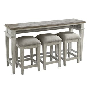 Heartland Antique White 4 Piece Console Table and Stools