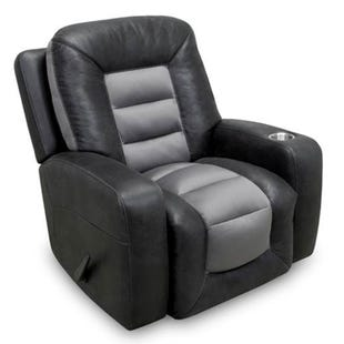 Branson Black/Gray Swivel Rocker Recliner