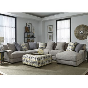 Barton 5 Piece Light Gray Right Facing Chaise Sectional