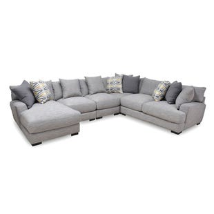 Barton 5 Piece Light Gray Left Facing Chaise Sectional
