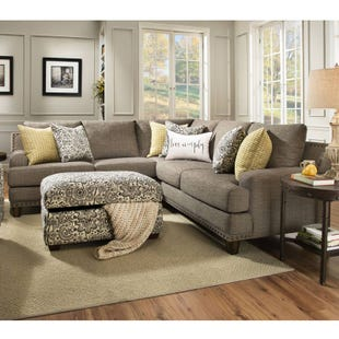 Franklin Julienne Linen Sectional with Nailhead