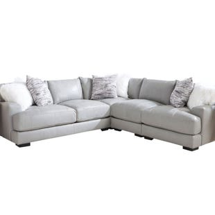 Leather Barton Sectional 3 Pc Gray