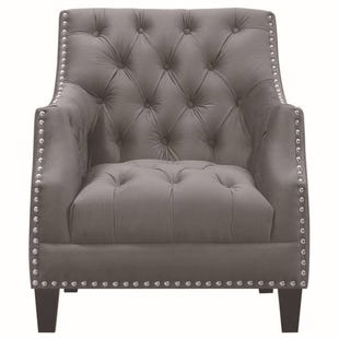 Norwalk Charcoal Velvet Tufted Accent Chair