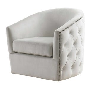Butler Cream Velvet Swivel Chair