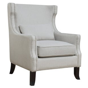 Ruby Oslo Taupe Velvet Wing Chair