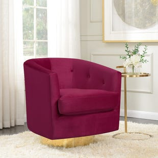 Brass Base Swivel Chair Red