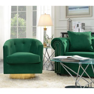 Brass Base Swivel Chair Emerald