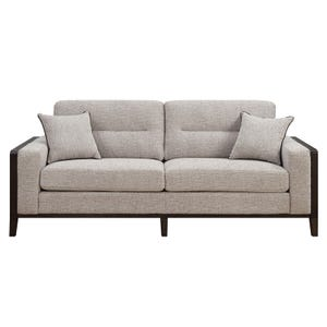 Langham Cream Chenille Sofa with Wood Trim