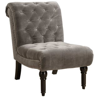 Twain Granite Gray Tufted Chair