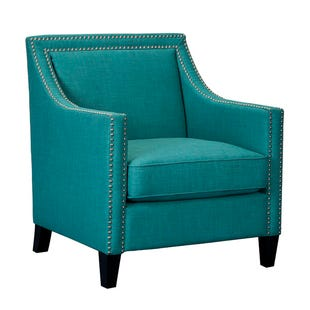 Heirloom Teal Blue Linen Accent Chair with Nailhead Trim