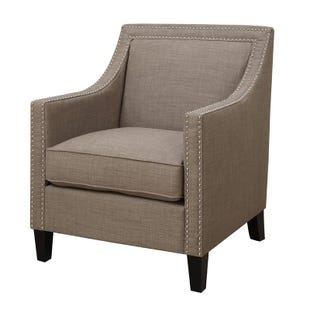Heirloom Beige Linen Accent Chair with Nailhead Trim