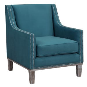 Augusta Teal Accent Chair with Wood Trim