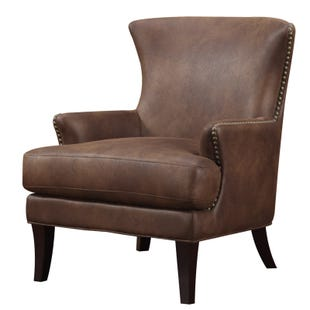 Emerald Home Java Brown Microfiber Chair with Nailhead Trim