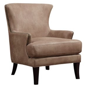 Emerald Home Dixon Beige Microfiber Chair with Nailhead Trim