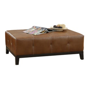 Agnes Chestnut Brown Modern Bonded Leather Cocktail Ottoman