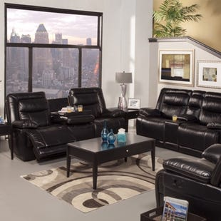 Torino Black Faux Leather Reclining Sofa with Drop Table