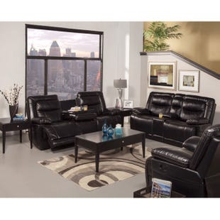 Torino Black Faux Leather Reclining Console Loveseat