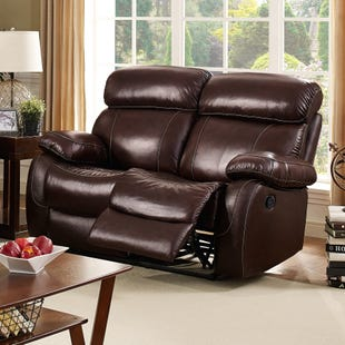 Dante Dark Brown Top Grain Leather Power Reclining Loveseat