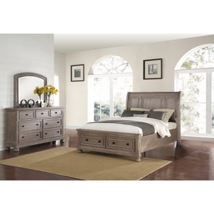 Allegra Pewter King Storage 3 Piece Bedroom Set