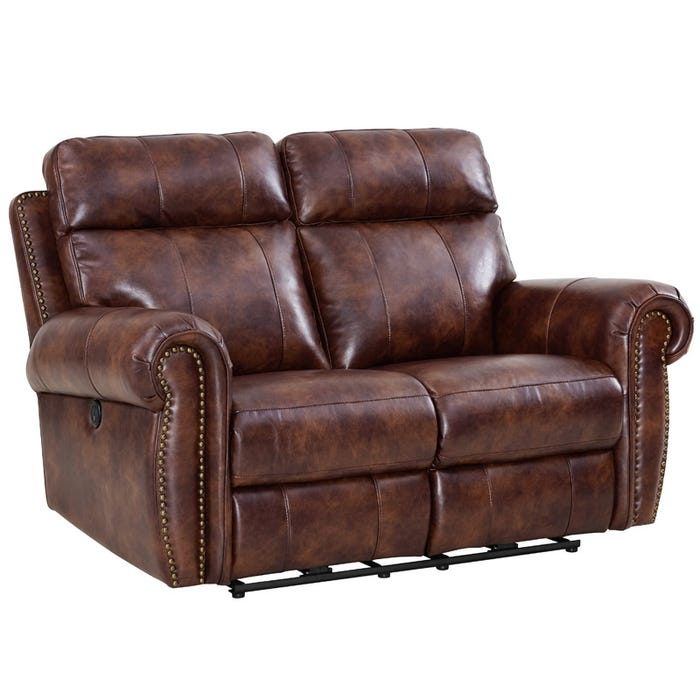 Awe Inspiring Roycroft Brown Faux Leather Power Reclining Loveseat Short Links Chair Design For Home Short Linksinfo