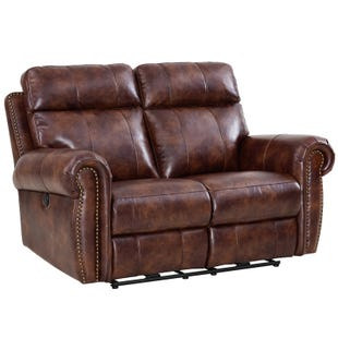 Roycroft Brown Faux Leather Power Reclining Loveseat