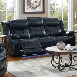 Las Vegas Top Grain Leather Power Reclining Sofa and Head