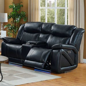 Las Vegas Top Grain Leather Power Loveseat and Headrest