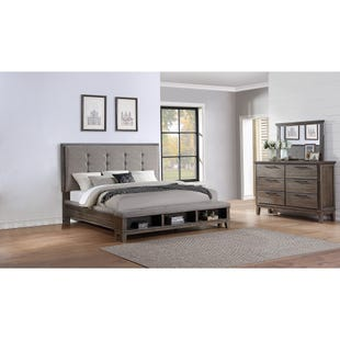 Cagney Vintage Gray Queen Storage 3 Piece Bedroom Set