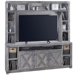 "Aspen Home Urban Farmhouse Grey 84"" TV Stand & Hutch"